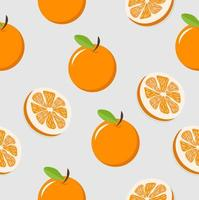 naadloze patroon van sinaasappelen en stukjes sinaasappel vector