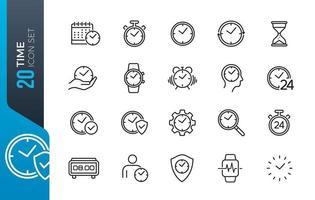 minimale tijd icon set vector