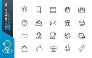 contact met ons op icon set vector