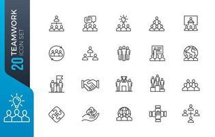 minimale teamwerk icon set