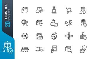 minimale logistiek icon set