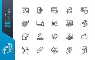 minimale zoekmachine optimalisatie icon set
