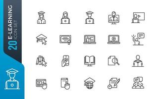 minimale e-learning icon set vector
