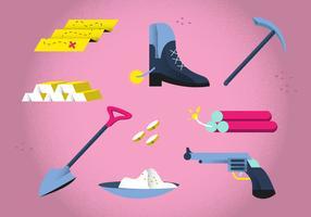 Gouden Rush Tools Starter Pack Vector Illustration