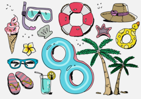 Beach Vacation Stuff Hand getrokken vectorillustratie vector