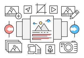 Lineaire fotografie iconen vector
