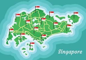 Kaart van Singapore vector