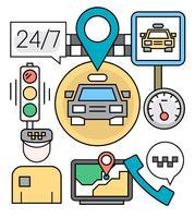 Gratis lineaire taxi-pictogrammen vector