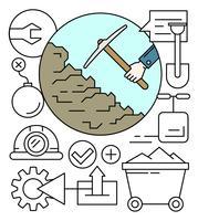 Lineaire mijnbouw pictogrammen vector