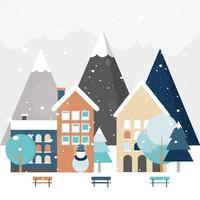 Mooie winterlandschap vectorillustratie