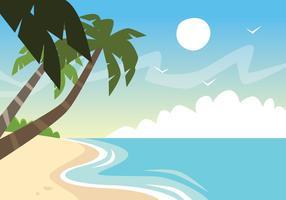 Palmboom op een strand vector
