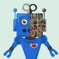 schattige blauwe robot met opengewerkte weergave van versnellingen vector