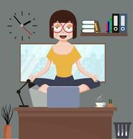 vrouw mediteren in kantoor