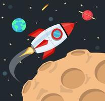 vliegende raket op ruimteachtergrond vector