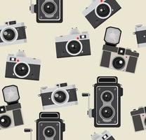 naadloze patroon van retro fotografiecamera's vector