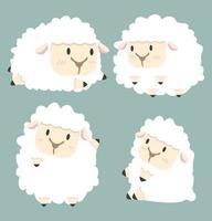 schattige witte kleine schapen set