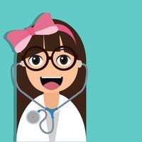 schattig meisje arts met roze strik en stethoscoop vector