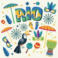 Rio-ontwerp met voorwerpen op achtergrond wordt geplaatst die