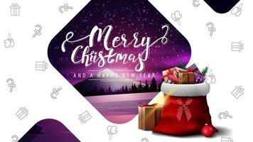 ansichtkaart met winterlandschap en tas van de kerstman