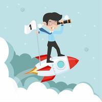 zakenman die een koers op een vliegende raket in kaart brengt