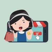 meisje doet online winkelen op haar smartphone