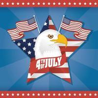 usa onafhankelijkheidsdag met vlaggen en adelaarshoofd vector
