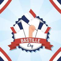 Bastille-dagvieringskaart die met Franse pictogrammen wordt geplaatst vector