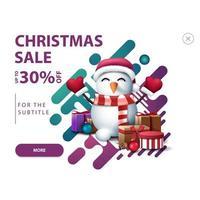 witte korting verschijnt voor website met sneeuwpop