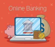 technologie voor online bankieren met laptop vector