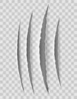 krabklauw snijdt papier met transparante schaduwen vector