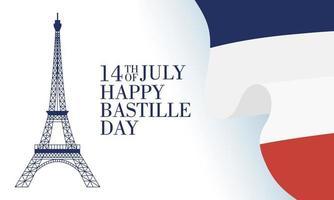 Bastille-dagviering met Franse pictogrammen vector