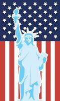 usa onafhankelijkheidsdag poster met vrijheidsbeeld vector