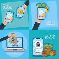 technologie voor online bankieren met elektronische apparaten vector