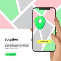 locatie-instructies met smartphone-app vector