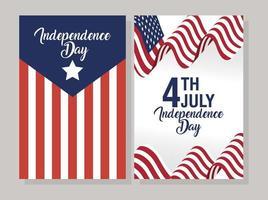 usa onafhankelijkheidsdag viering banner set met vlag vector