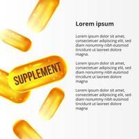 3d supplement gele gouden pillen voor gezondheidszorg vector