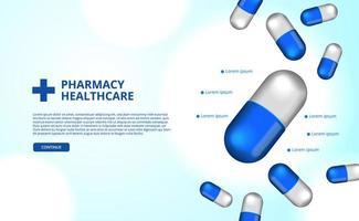3d apotheek pillen capsule geneeskunde gezondheidszorg vector