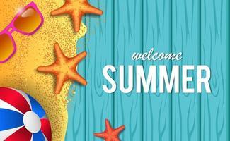 hallo zomertijd vakantie reizen met houten achtergrond