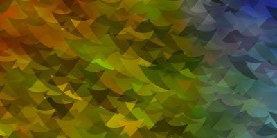 lichtblauwe, gele lay-out met driehoeken.