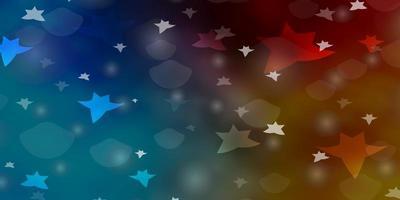 lichtblauw, geel patroon met cirkels, sterren.