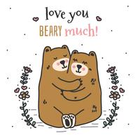 hou van je beary veel vector