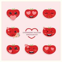 Aardbei Valentine Emoji Icon Set vector