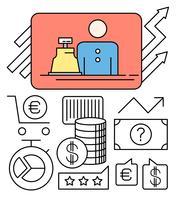 Geld en detailhandel vector