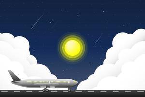 vliegtuig geparkeerd op een landingsbaan met zon en wolken
