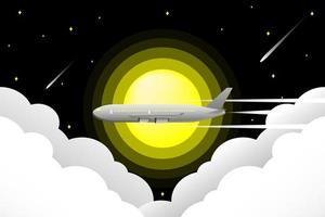 vliegtuig vliegt door de nachtelijke hemel vector