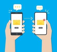 handen die smartphones gebruiken om chatberichten te delen