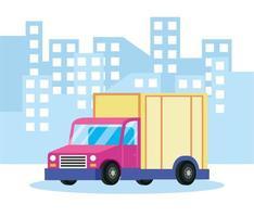 bezorgservicesamenstelling met vrachtwagen