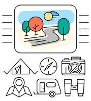 Lineaire kampeerpictogrammen vector