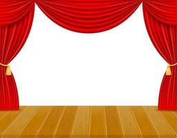 theaterpodium met rode gordijnen