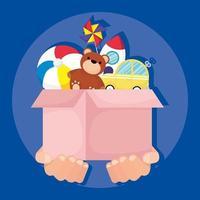 liefdadigheids- en donatiedoos met speelgoed vector